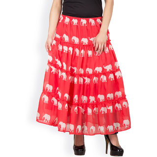 red three tiered skirt by FAMOUS