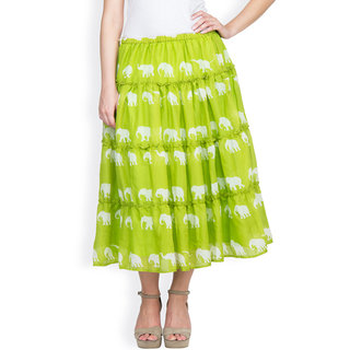 Light Green 3 tiered skirt by Famous