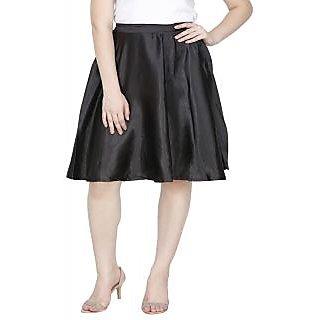 Plain black satin skirt by Famous