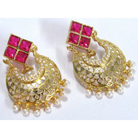 Dark Pink Stone White Drop Earring