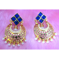 Dark Blue Stone White Drop Earring