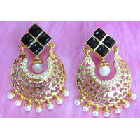 Black Stone White Drop Earring