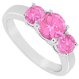 10K White Gold Created Pink Sapphire Three Stone Ring 1.00 CT TGW