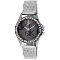 Dk Round Dial Silver Metal Strap Analog Watch For Women