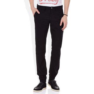 Black Regular Flat Trouser