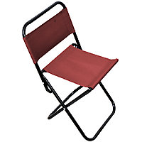 Kawachi Portable Folding Outdoor Fishing Camping Chair Oxford Cloth Chair with Backrest Carry Bag-Red