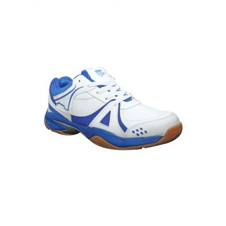 Port Mens Flying White Blue PU Badminton Shoes