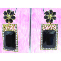 Black Flower Stud Earring