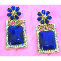 Dark Blue Flower Stud Earring