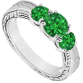 Frosted Emerald Three Stone Ring 925 Sterling Silver 0.50 Carat Total Gem Weight