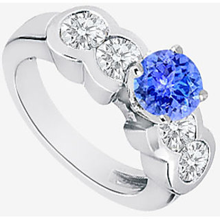 14K White Gold Natural Tanzanite & Diamond Engagement Ring