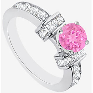 Diamond And Pink Sapphire Engagement Ring In 14K White Gold 1.60 Carat TGW