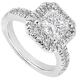 14K White Gold Halo Semi Mount Engagement Ring With 0.50 Carat Diamonds