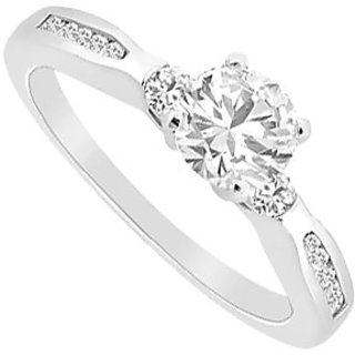 14K White Gold Semi Mount Engagement Ring 0.25 Carat Diamonds (Option - 8)