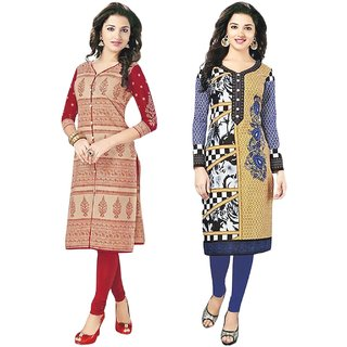 Jevi Prints - Combo of 2 Unstitched Cotton Kurti Materials