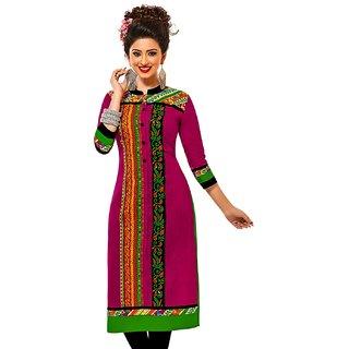 Jevi Prints Rani & Multicolor Unstitched Cotton Printed Kurti Fabric
