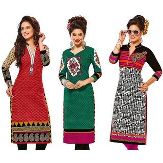 Jevi Prints - Combo of 3 Unstitched Kurti Fabrics (Fabrics only for Top)