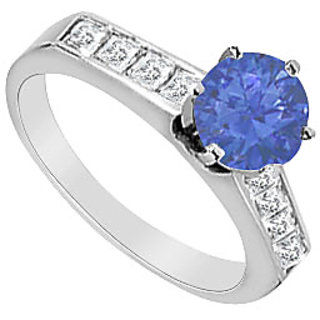 14K White Gold Natural Sapphire & Diamond Princess Cut Engagement Ring