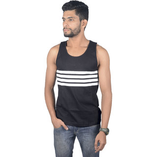 ATHLIIQ Black Round Neck Sleeveless Tank Top for Men