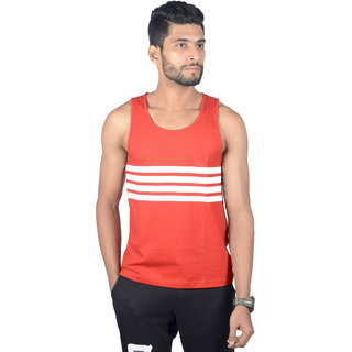 ATHLIIQ Red Round Neck Sleeveless Tank Top for Men