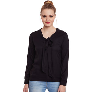 Black bow tie rayon top by famous