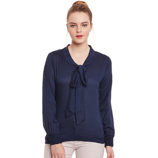 Navy blue bow tie rayon top by famous
