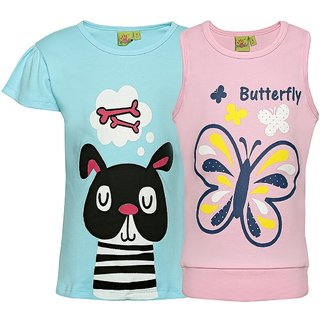 Punkster 100 Cotton Blue Cap Sleeves Top For Girls 18513-5