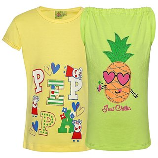 Punkster 100 Cotton Yellow Cap Sleeves Top For Girls 18514-2