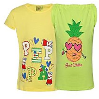 Punkster 100 Cotton Yellow Cap Sleeves Top For Girls 18514-5