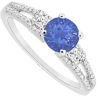 Engagement Ring With Diamond & Natural Sapphire In 14K White Gold 0.85 Carat TGW