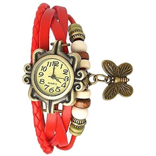 Red Leather Analog Watches For Women by  SPORTS ONLIN