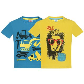 Punkster 100 Cotton Multicolor Round Neck T-Shirt For Boys4584HS-3