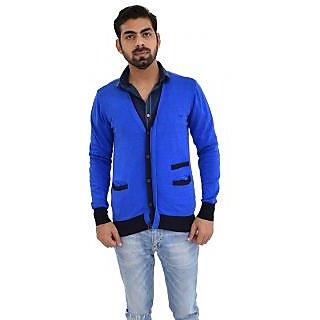 Mens V Neck Blue Sweater