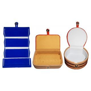 ABHINIDI Combo 1 pc blue earring folder  1 ear ring box and 1 pc bangle box jewelry vanity case
