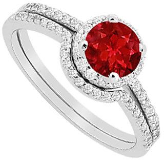 Ruby Halo Engagement Ring With Diamonds Wedding Band Sets 1.15 Carat TGW