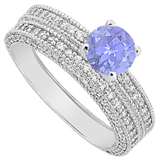 Diamond & Tanzanite Engagement Ring & Wedding Band Set 2.25 Carat TGW