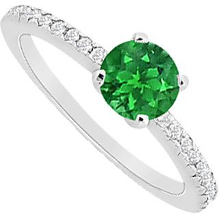 Natural Emerald And Diamond Engagement Ring In 14K White Gold 0.75 Carat TGW