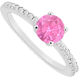 Diamond And Pink Sapphire Engagement Ring In 14K White Gold With 0.75 Carat TGW