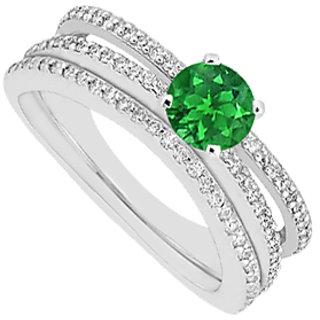 Emerald Engagement Ring With Diamonds Wedding Band Sets 1.15 Carat Gem Weight