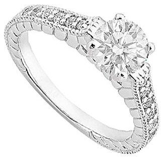 14K White Gold Diamond Engagement Ring With 0.75 Carat Diamonds