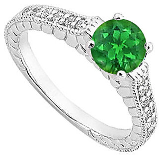 1 Carat Emerald And Diamond Engagement Ring In 14K White Gold