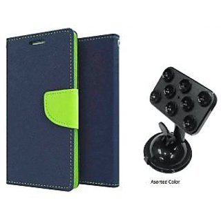 Micromax Canvas Gold A300  Mercury Wallet Flip case Cover (BLUE) With Universal Car Mount Holder(Assorted Color)