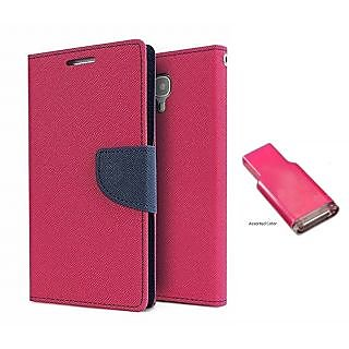 Micromax Canvas Juice 2 AQ5001  Mercury Wallet Flip case Cover (PINK)  With MEMORY CARD READER(Assorted Color)