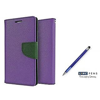 Samsung Galaxy Grand Prime SM-G530  Mercury Wallet Flip case Cover (PURPLE)  With STYLUS PEN(Assorted Color)