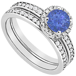 Sapphire Halo Engagement Ring With Diamonds Wedding Band Sets Of 1.30 Carat