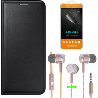Snaptic Black Leather Flip Cover for Reliance Jio LYF Flame 7 with 2.5D HD Tempered Glass and Rose Gold Earphones with M