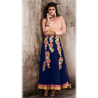 Blue Anarkali Style Suit Design 2