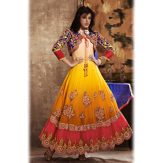 Multicolor Anarkali Jacket Style Suit