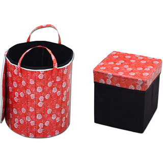 Stop N Shop Combo Of Red Floral Laundry Bag With Foldable Storage Stool