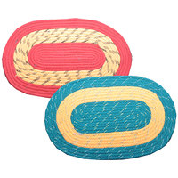 Deal Wala Pack Of 2 Oval Shape Jute Door Mat-combo